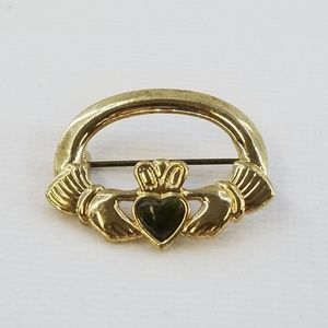 SOL D'OR Gold Tone Claddagh Brooch